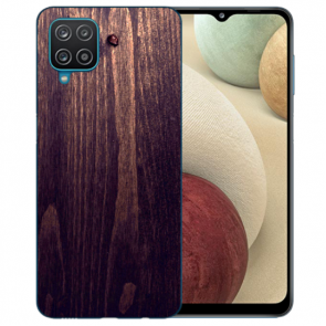 Samsung Galaxy A12 5G TPU Silikon Hülle mit Bilddruck HolzOptik Dunkelbraun