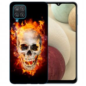 Samsung Galaxy A12 5G TPU Hülle mit Bilddruck Totenschädel Feuer