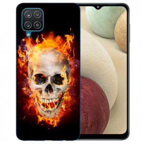 Samsung Galaxy A42 5G Silikon TPU Hülle mit Bilddruck Totenschädel Feuer