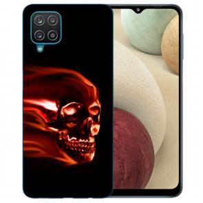 Samsung Galaxy A12 5G Silikon TPU Hülle mit Bilddruck Totenschädel