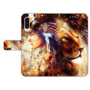 Samsung Galaxy A50 Handyhülle mit Indianer Löwe Gemälde Bilddruck