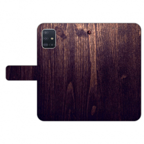 Samsung Galaxy A71 Handy Hülle mit Bilddruck HolzOptik Dunkelbraun