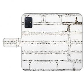 Samsung Galaxy A41 Handy Hülle Tasche mit Weiße Mauer Bilddruck Etui