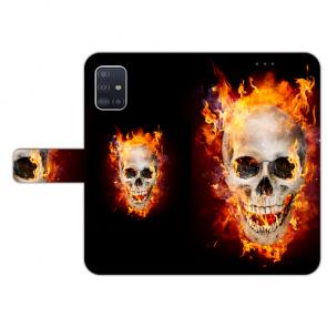 Samsung Galaxy A71 Handy Hülle mit Bilddruck Totenschädel Feuer
