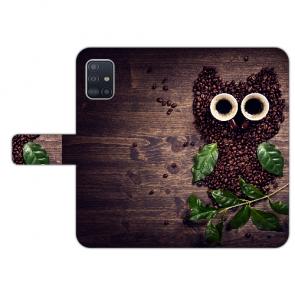 Samsung Galaxy A51 Handy Hülle mit Bilddruck Kaffee Eule