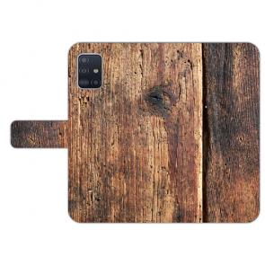 Samsung Galaxy A71 Handy Hülle Tasche mit Bilddruck HolzOptik