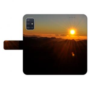 Samsung Galaxy A71 Handy Hülle Tasche mit Bilddruck Sonnenaufgang