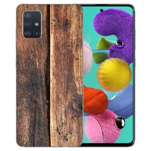 Samsung Galaxy A31 Silikon Handyhülle mit Bilddruck HolzOptik