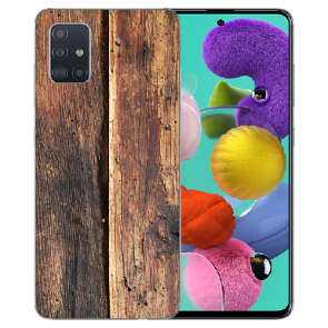 Silikon TPU Hülle für Samsung Galaxy A41 mit Bilddruck HolzOptik