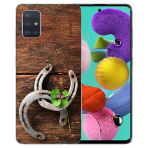 Samsung Galaxy A31 Silikon Handy Hülle mit Bilddruck Holz hufeisen