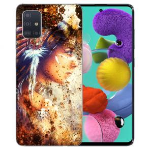 Samsung Galaxy A31 Silikon Handyhülle mit Bilddruck Indianerin Porträt