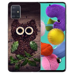 Samsung Galaxy A31 Silikon Handy Hülle mit Bilddruck Kaffee Eule