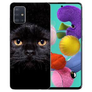 Samsung Galaxy Note 10 lite Silikon TPU Hülle mit Schwarz Katze Bilddruck