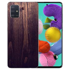 Samsung Galaxy A31 Silikon Hülle mit Bilddruck HolzOptik Dunkelbraun