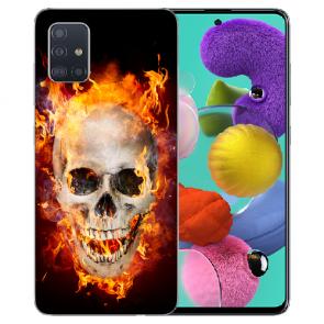 Samsung Galaxy A31 Silikon Handyhülle mit Bilddruck Totenschädel Feuer