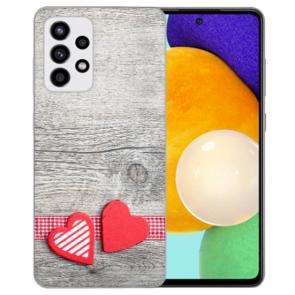 Samsung Galaxy A52 5G Silikon Hülle mit Bilddruck Herzen auf Holz