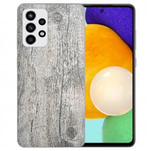 Samsung Galaxy A52 5G Silikon Hülle mit Bilddruck HolzOptik Grau
