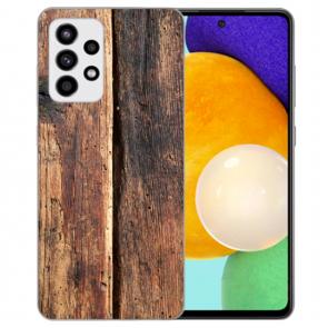 Samsung Galaxy A52 5G Silikon Hülle mit Bilddruck HolzOptik