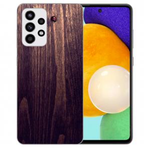 Samsung Galaxy A52 5G Silikon Hülle mit Bilddruck HolzOptik Dunkelbraun