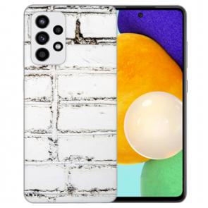 Samsung Galaxy A52 5G Silikon Hülle mit Bilddruck Weiße Mauer