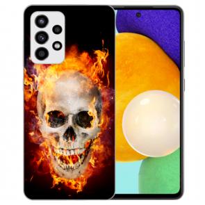 Samsung Galaxy A32 5G Silikon Hülle TPU Case mit Bilddruck Totenschädel Feuer