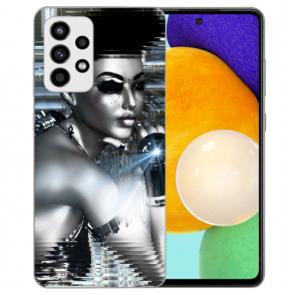 Samsung Galaxy A52 5G Silikon Hülle mit Bilddruck Robot Girl