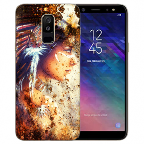 Samsung Galaxy J6 + (2018) TPU Hülle mit Bilddruck Indianerin Porträt