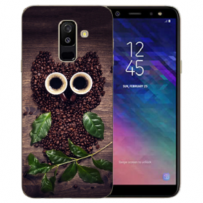Samsung Galaxy J6 + (2018) TPU Hülle mit Kaffee Eule Bilddruck