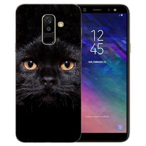 Silikon TPU Hülle mit Schwarz Katze Bilddruck für Samsung Galaxy J6 (2018)