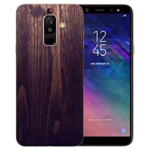 Samsung Galaxy J6 + (2018) TPU Hülle mit Bilddruck HolzOptik Dunkelbraun