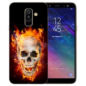 Samsung Galaxy A6 Plus 2018 TPU Hülle mit Bilddruck Totenschädel Feuer