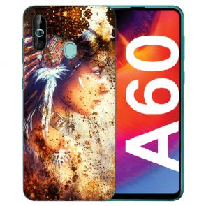 Samsung Galaxy A60 Silikon TPU Hülle mit Fotodruck Indianerin Porträt