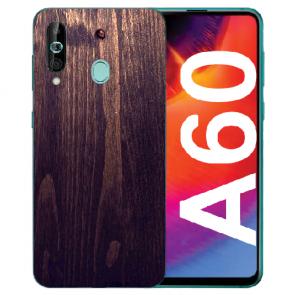 Samsung Galaxy A60 TPU Hülle mit Fotodruck HolzOptik Dunkelbraun
