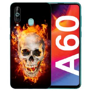 Samsung Galaxy A60 Silikon TPU Hülle mit Fotodruck Totenschädel Feuer