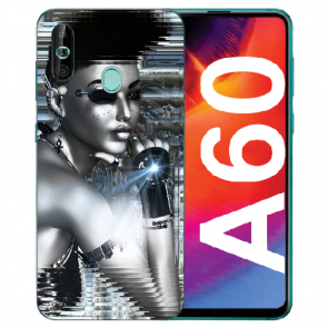 Samsung Galaxy A60 Silikon TPU Hülle mit Fotodruck Robot Girl Case