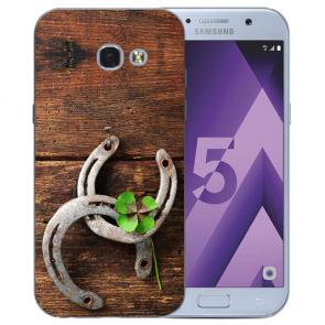 Samsung Galaxy A3 (2017) Silikon TPU Hülle mit Bilddruck Holz hufeisen