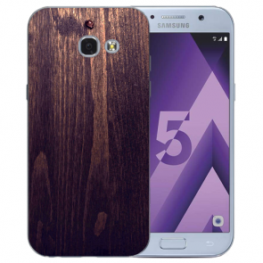 Samsung Galaxy A3 (2017) Silikon TPU Hülle mit Bilddruck HolzOptik Dunkelbraun