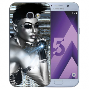 Samsung Galaxy A3 (2017) Silikon TPU Hülle mit Bilddruck Robot Girl Etui
