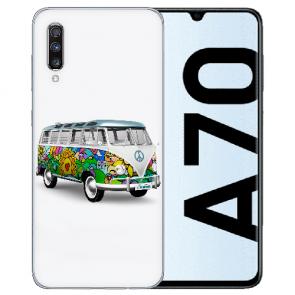 Samsung Galaxy A70 Silikon TPU Hülle mit Bilddruck Hippie Bus Etui