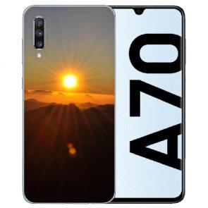 Samsung Galaxy A70 Silikon TPU Hülle mit Bilddruck Sonnenaufgang
