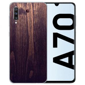 Samsung Galaxy A70 Silikon TPU mit Bilddruck HolzOptik Dunkelbraun