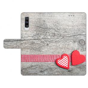 Personalisierte Handyhülle mit Herzen auf Holz Bilddruck für Huawei Y6 Pro (2019)