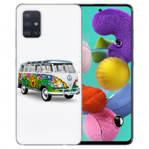 Samsung Galaxy A71 Silikon TPU Hülle mit Fotodruck Hippie Bus Etui
