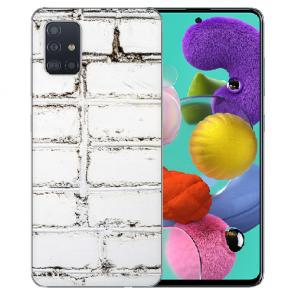 Samsung Galaxy A71 Silikon TPU Hülle mit Weiße Mauer Fotodruck