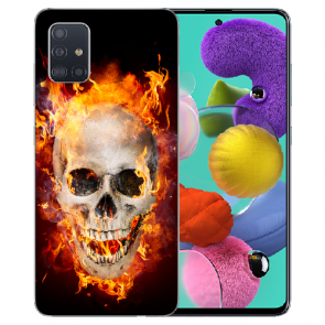 Silikon TPU mit Fotodruck Totenschädel Feuer für Samsung Galaxy A71
