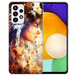 Samsung Galaxy A72 5G Silikon TPU Hülle mit Fotodruck Indianerin Porträt