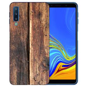 Samsung Galaxy A7 (2018) Silikon TPU Hülle mit Fotodruck HolzOptik Etui