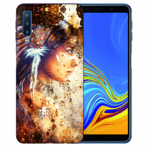 Samsung Galaxy A7 (2018) TPU Hülle mit Fotodruck Indianerin Porträt