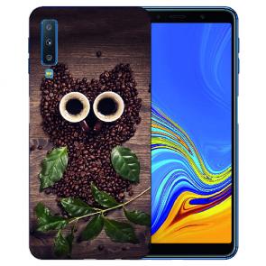 Samsung Galaxy A7 (2018) TPU Hülle mit Kaffee Eule Fotodruck Etui