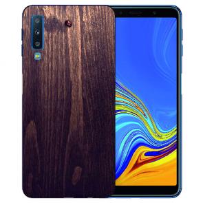 Samsung Galaxy A7 (2018) TPU Hülle mit Fotodruck HolzOptik Dunkelbraun